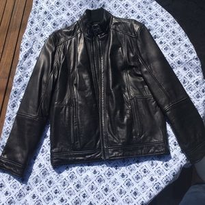 Saks Fifth Avenue Men's Black Leather Jacket Sz Md